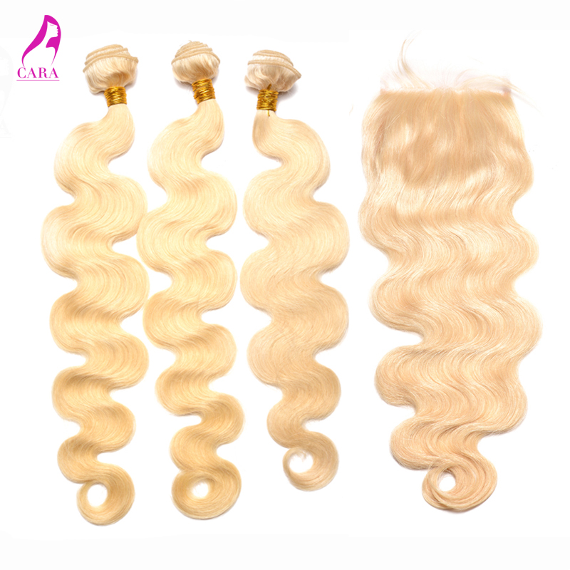 8A Brazilian Body Wave Hair Bundles With Closure 4Pcs #613 Blonde Body Wave Hair Extension Brazilian Virgin Hair With Closure<br><br>Aliexpress