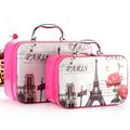 2017 2 Pcs Set Women Cosmetic Bag Storage Box Multi function Portable Landscape Female Big Capacity