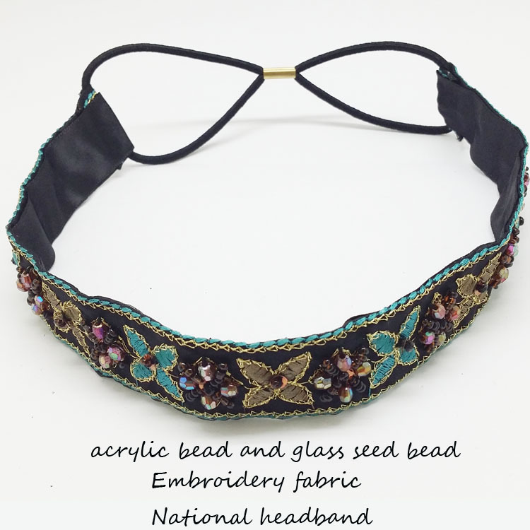2014 nationality glassandmetalbead sewn on the embroidered flowerribbon elastic headbands of woman hairaccessories Free shipping(China (Mainland))