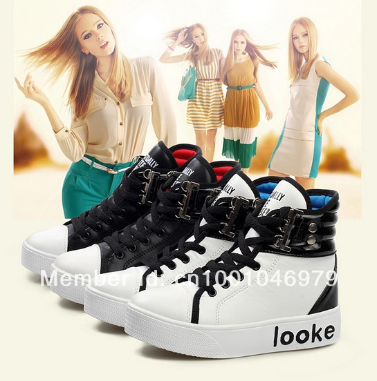 2013 KoreanPU Platform Shoes Thick-soled Within Higher High Panda Crystal Women Casual - Fashion Show store