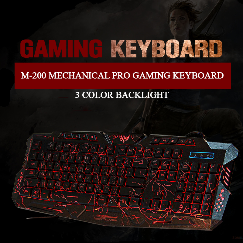 3 Color Backlight M200 Mechanical Pro Gaming Keyboard el teclado Gamer LOL DOta 2 USB Powered Full N-Key Computer Peripherals(China (Mainland))