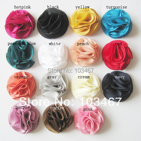 """15 colors- 50pcs/lot  2"""" Chiffon Flowers girl dress cloth flowers newest style can mix colors"""