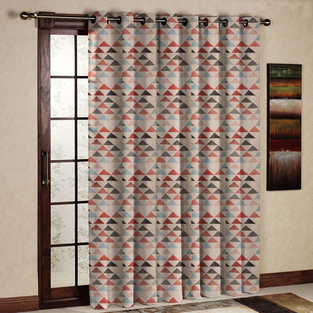 One Panel Pastoral Style Thermal Insulated Blackout Printed Geometric Drape/Curtain/Panel for living room bedroom Grommet Top(China (Mainland))