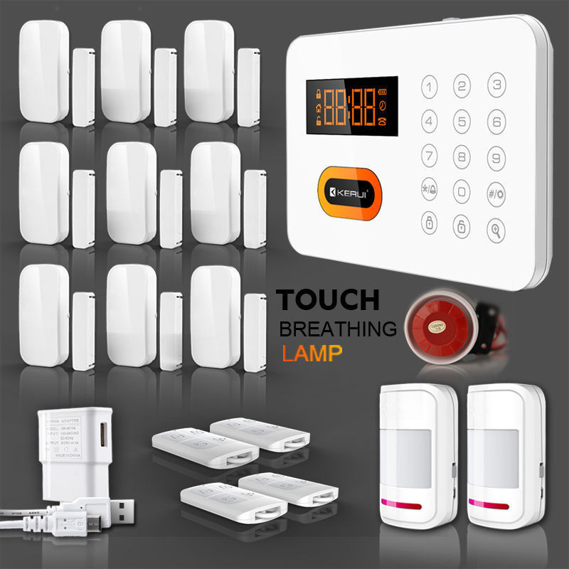 Free-shipping-KERUI-PSTN-Landline-120-Zones-Touch-Keypad-Wireless-Home-Alarm-Security-System-LCD-Auto