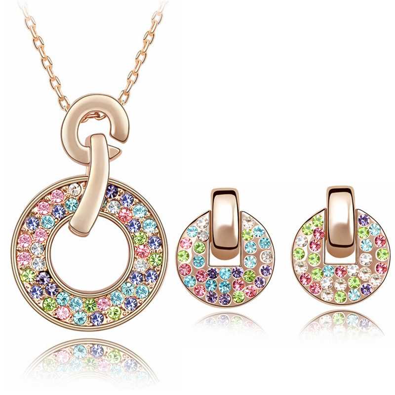 Multicolored Austria Crystal Circle Earrings & Necklace Jewelry Sets Rose Gold Plated - MJSZ store Min. Order $ 10 USD
