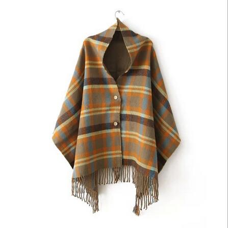 Tassel Plaid font b Tartan b font Cashmere Desigual Scarf For Women Poncho Shawl Blanket Pashmina