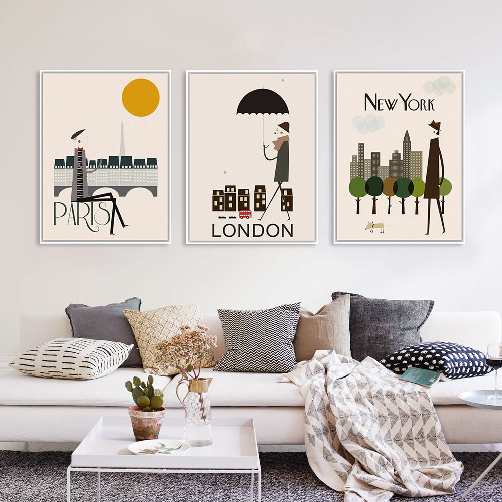 Triptych modern london new york paris city travel a4 art for Home decor london