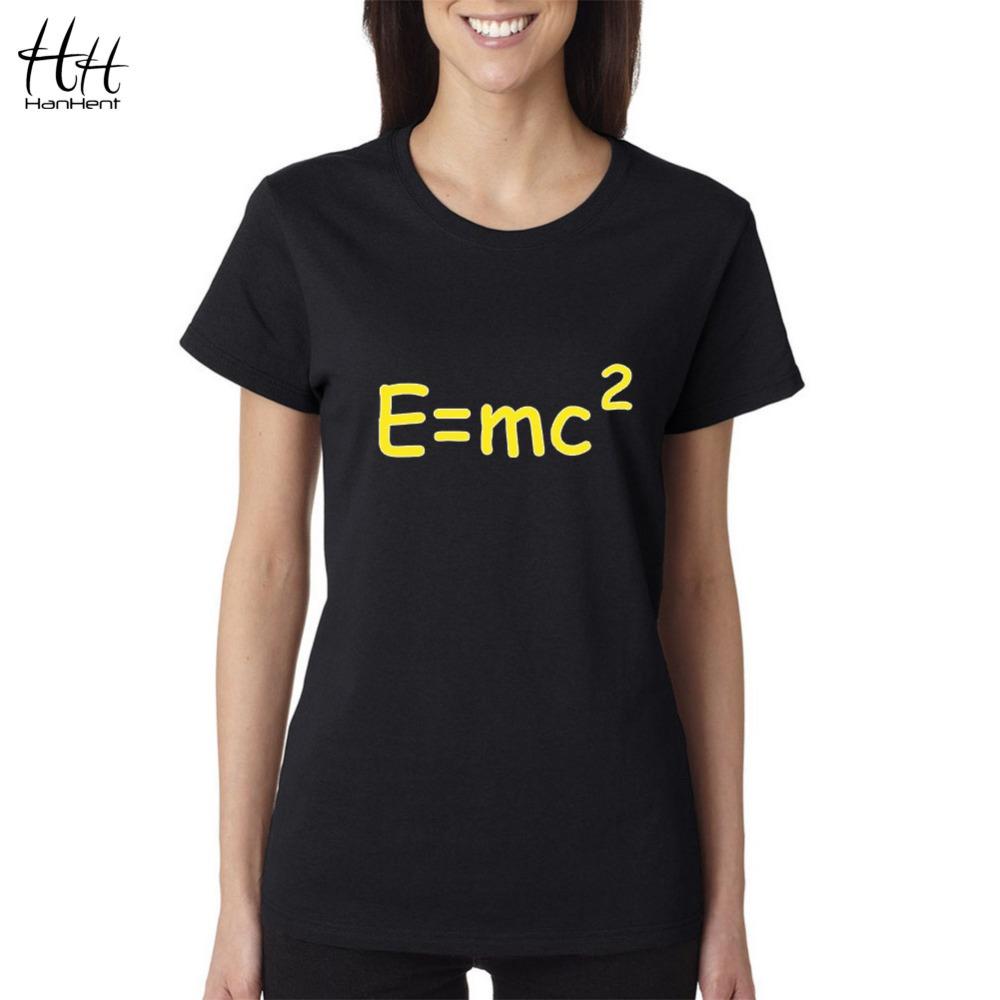 HanHent Einstein Mass Energy Equation Women T-shirt Novelty Cotton Summer The Big Bang Theory T Shirt Unisex Couple Tees TB0475(China (Mainland))