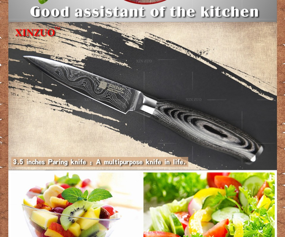 "Buy XINZUO 3.5"" inch paring knife damascus Japan Damascus kitchen knife sharp peeling fruit knife Color wood handle free shipping cheap"