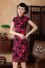 2015 Fashion Trends Red Female Organza Cheongsam Chinese Bridal Wedding Party Dress Mini Floral Qipao Top Size S M L XL XXL LS13