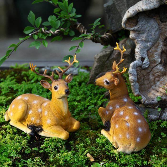 2pcs/lot Cute Simulation Deer Decor Resin Crafts Artificial Deer Garden Home Wedding Room Decorations Gifts(China (Mainland))