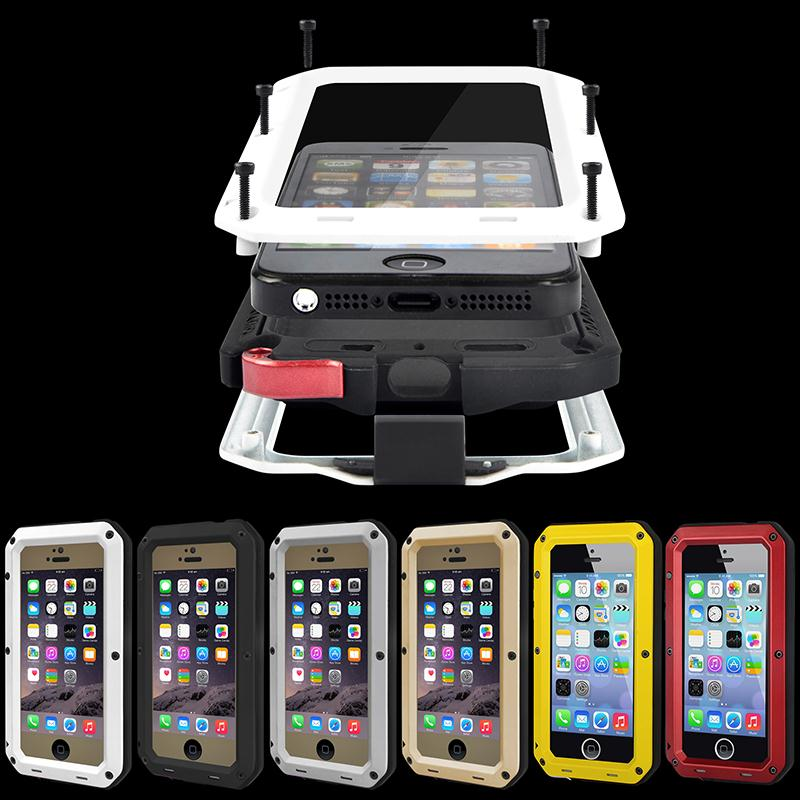 Luxury Shockproof Waterproof Case Cover for iPhone SE/5s/6s/6 plus Protective Aluminum Gorilla Glass Metal Cover Cell Phone Case(China (Mainland))