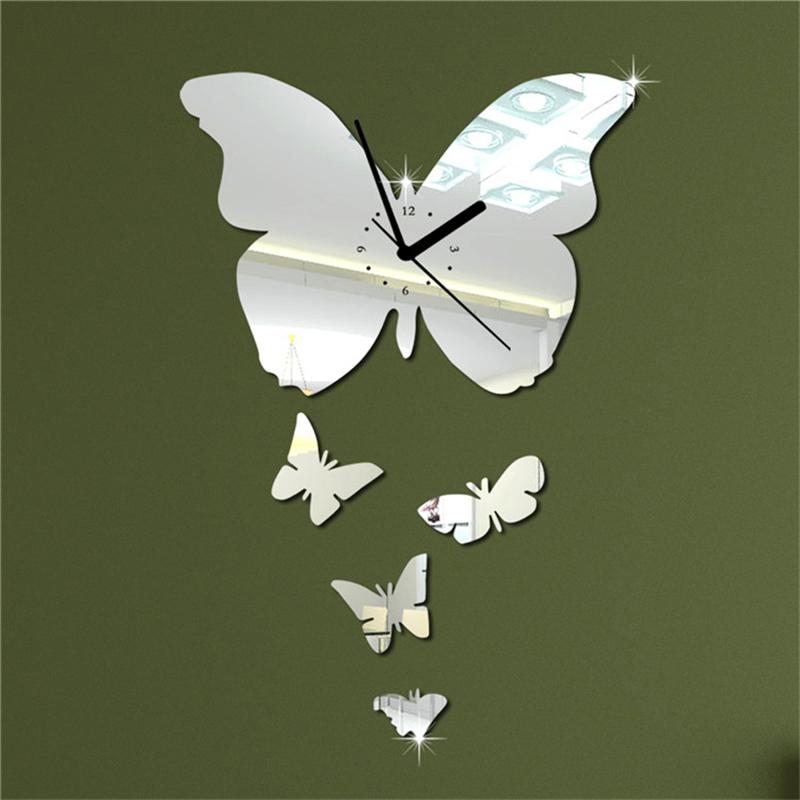 5pcs-set-Butterfly-Mirror-Wall-Clock-diy-Clock-3d-Wall-Clock-Wall ...