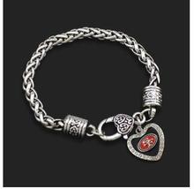 5pcs unsex couple fashion Jewelry Rugby Heart NFL San Francisco 49 team logo Super Bowl Alloy Drip sport fan men Crude Bracelets(China (Mainland))
