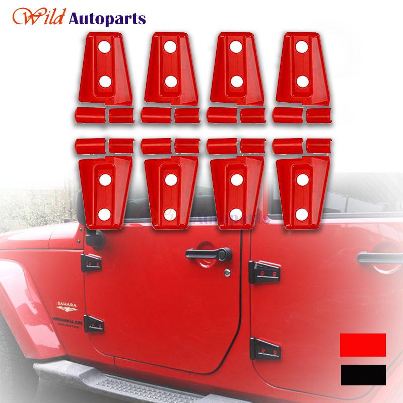 8pcs Sport Red&Black Body Side Door Hinge Cover Trim Set Surroundings For Jeep Wrangler JK 4-Door 2007-2014 2015(China (Mainland))