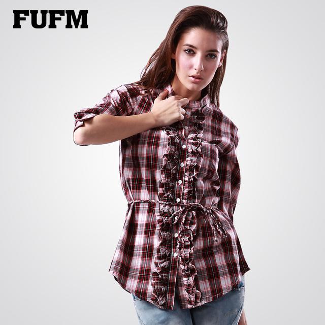 2013 spring women's fashion shirt female sweet slim plaid shirt three quarter sleeve top