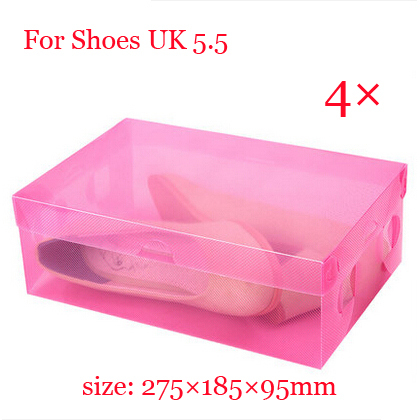 Free shipping 4 x Women Shoes Plastic box with cover strong transparent color Eco-friendly Dustproof Stackable Foldable(China (Mainland))