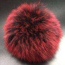 Super Grande 14-15 cm coloridos pompons bolas De Pêlo de luxo de pele de Raposa Ártica para malha de lã cap chapéu de inverno gorros pompons pele real(China)
