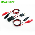 USB Crocodile wire Alligator clips Male of female to USB tester Detector voltage meter ammeter capacity