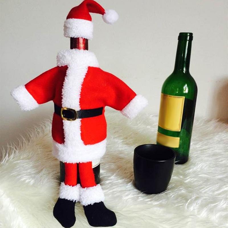 2016 Christmas Wine Bottle Cover Santa Claus Shape High-Grade Velvet Wine Bottle Bag for Christmas Table Chair Decoration Gift(China (Mainland))