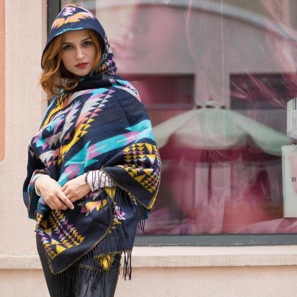 2016 Ladies Warm Winter Hooded Wrap  Wool Blends Lush Cape,Mantle Ponchos And Capes Aztec Casacos Femininos Tippet
