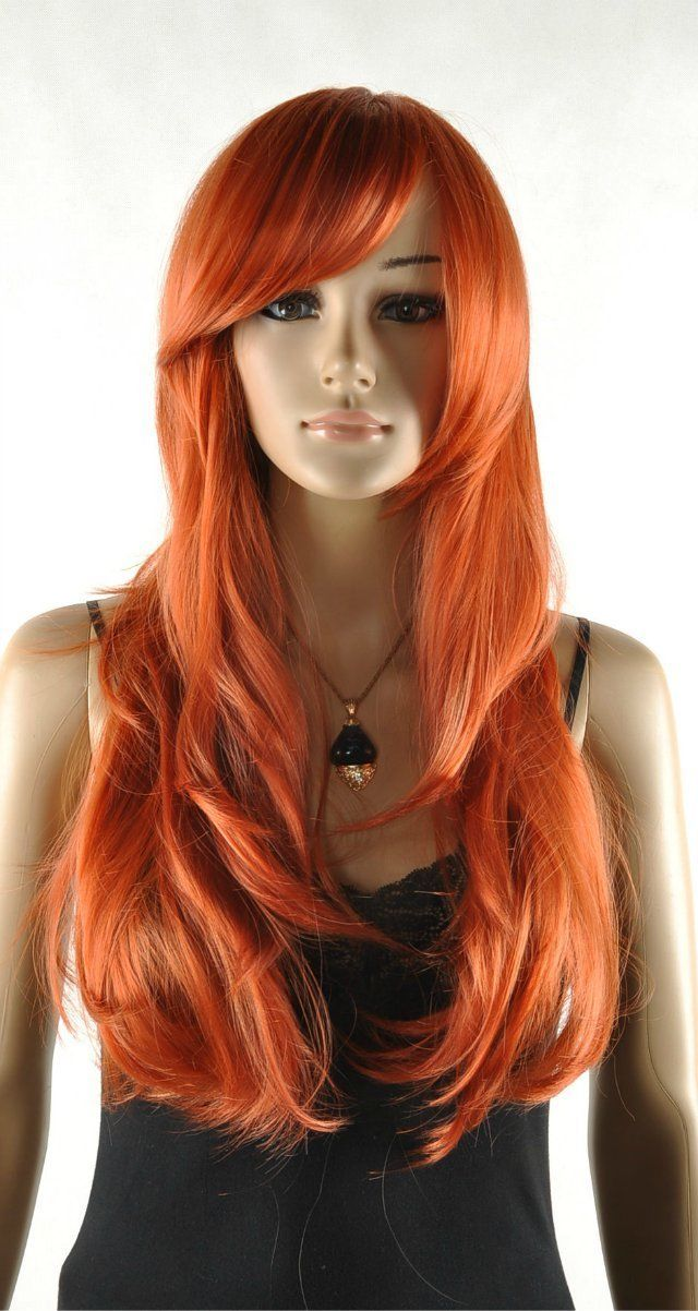 Wholesale& heat resistant LY free shipping>>>Sexy Charming Women Fashion Long Full Orange red Hair Wig Party