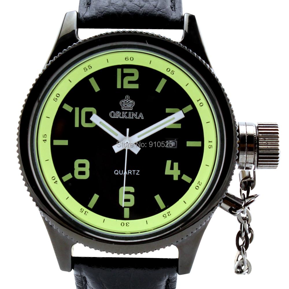 Orkina Mens Large Black Dial Neon Green Rim Quartz Date Day Display Nylon Band Wrist Watch | ORK0175<br><br>Aliexpress