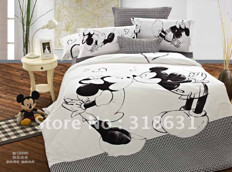 HOT SALE !!! 4 or 5pcs Happy Mickey & Minnie Mouse Bedding Duvet Cover Set Comforter Sets Queen Full Size Children, white/Black(China (Mainland))