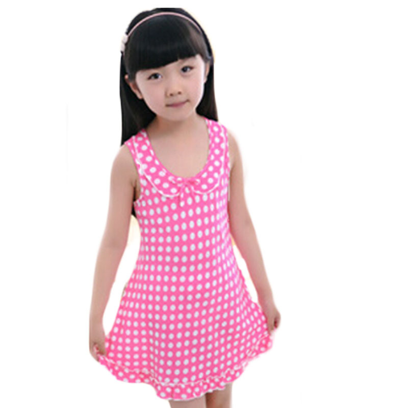 18Types Summer Cute Cotton Kids Nightgowns Character Geometric Girls Sleepwear With Bow Soft Polka Dot Children Tracksuit E112(China (Mainland))