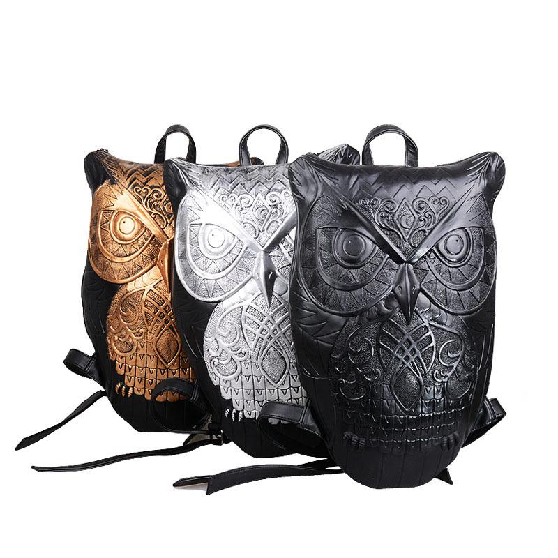 Women Backpack 2015 Newest Stylish Cool Black PU Leather Owl Backpack Female Mochila Feminina Hot Sale women bag Fast Shipping(China (Mainland))