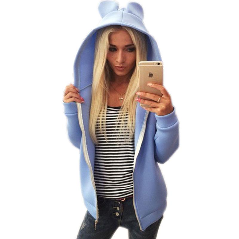 New Style Hoodie Women Space Sweatshirt Cardigan Fashion Zipper Coat Big Size Tracksuit Cute Ear Female Sweatshirt Sport Hoody A