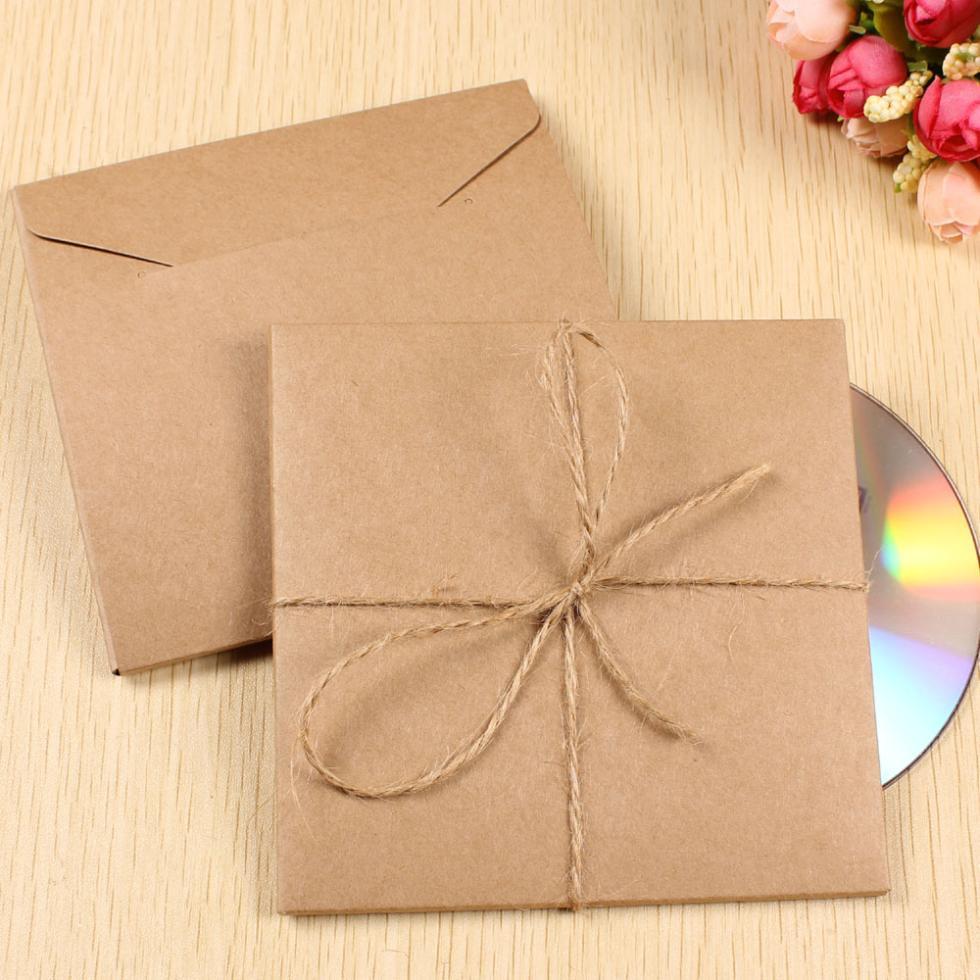 10pcs Kraft single CD case CD bag Quality Kraft Paper dvd Bags Cover Envelope dvd box Sleeve Holding 1 dj Discs Wholesale(China (Mainland))