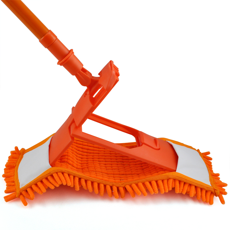 Durable Extendable Microfibre Mop Cleaner Sweeper Wet Dry - Orange(China (Mainland))