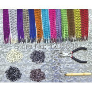 Feather Hair Extension Kit with 52 Synthetic Feathers, 100 Beads, Pliers and Hook 4F002(China (Mainland))
