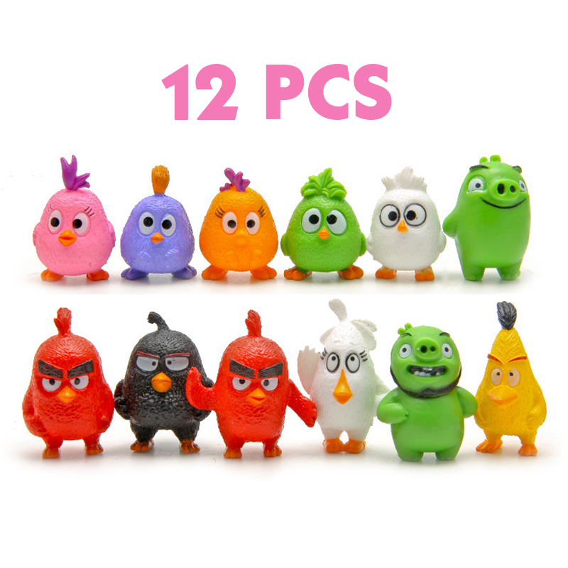 12pcs/lot 2016 Hot kawai birds Action & Toy Figures kids toys red/black/birds/pig/small birds