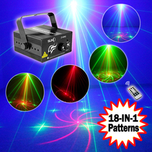 Buy SUNY 3 Lens 18 Patterns RG Mini Laser Light Show Blue LED Stage Lighting Effect Home Party DJ Disco Light IR Remote for $65.00 in AliExpress store