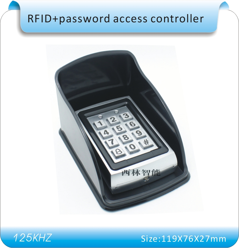 Free shipping  metal shell + Waterproof casing password &amp; 125KHZ RFID Entry Door Lock Access Control System + 10 KeyFob<br><br>Aliexpress