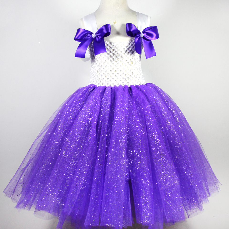 2015purple bow baby girl long tutu dress summer style