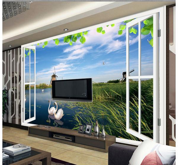 customize size scenery outside window wall mural wallpaper