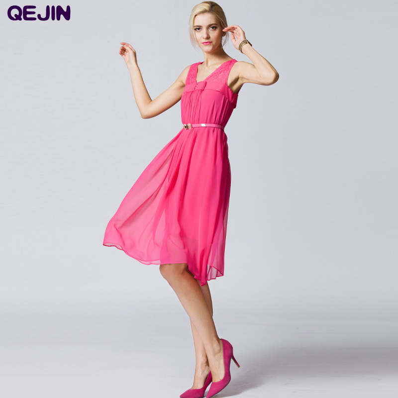 Silk Dress Club Girl Vestidos V-neck Sleeveless Solid Color Cute Knee-length Dresses Plus Size Blue Red 2XL - Sharewin Fashion(QEJIN store Co.,ltd)