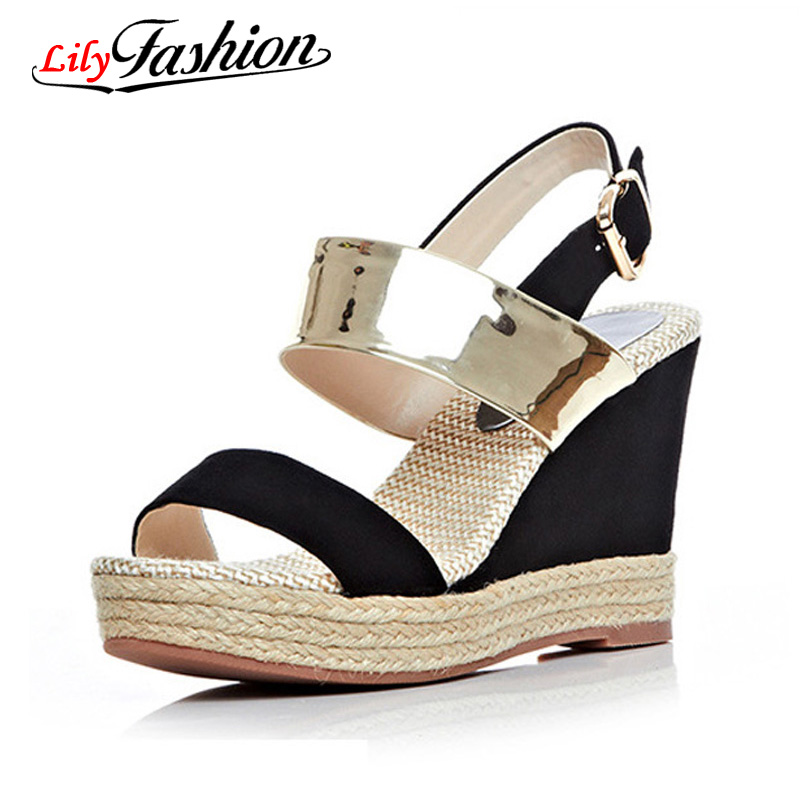 Фотография Women High Heel Sandals 2016 Waterproof Summer Sandals Slope With High-heeled New Thick Crust Muffin With Golden Sandals AH104