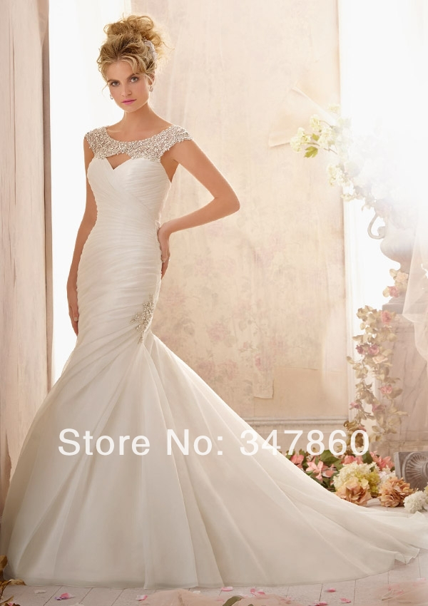 Shipping free Real sample sexy lace applique romantic organza hole back beaded mermaid vestido de noiva vintage weeding dress(China (Mainland))