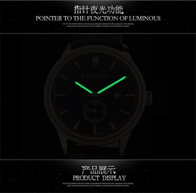CHENXI Brand New Watch Calendar Man Watches Men Business Quartz Watch leather strap Analog Waterproof Wristwatches