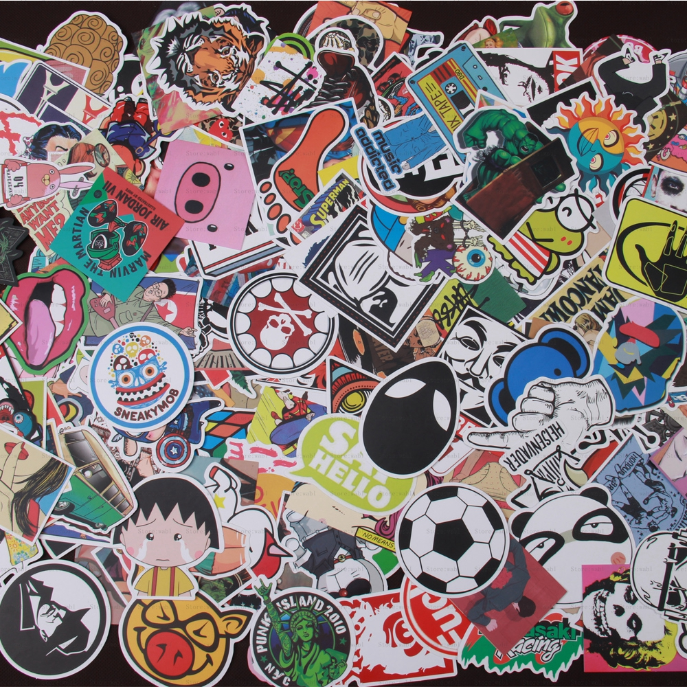 300 pcs stickers Do not repeat mixed Hot sale Home decor toy styling laptop for motorcycle skateboard doodle toys sticker(China (Mainland))
