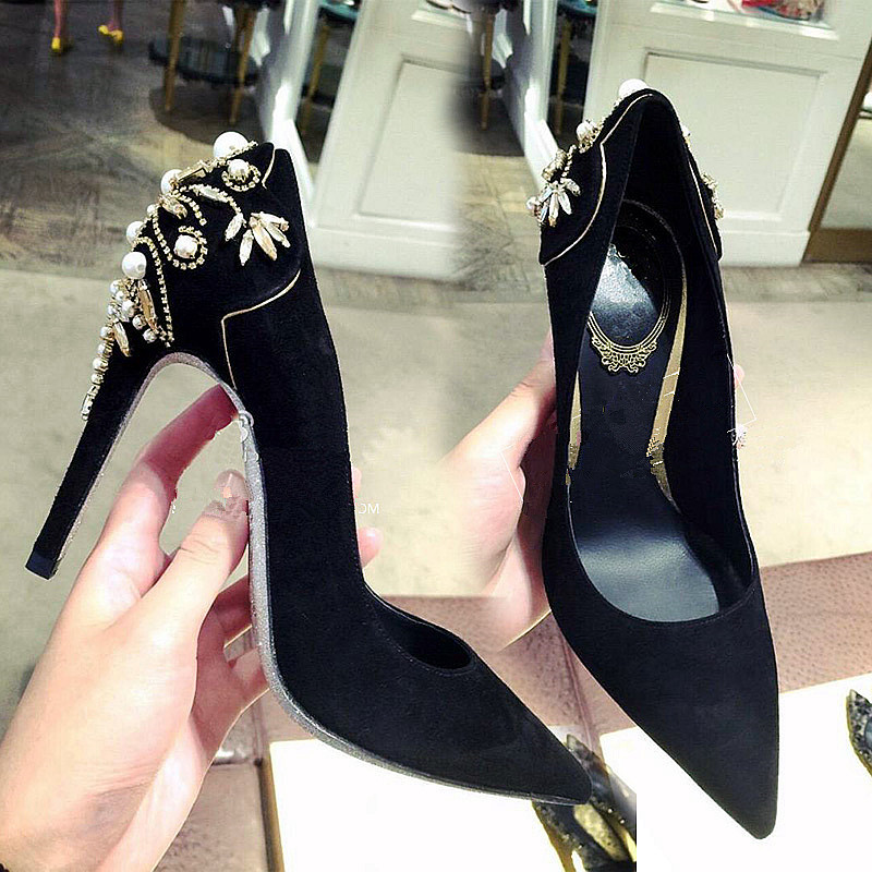 Elegant Pearls Wedding Shoes Woman Pointed Thin High Heels Ladies Shoes Party Women Pumps 2017 Nubuck Leather Zapatos Mujer 39(China (Mainland))