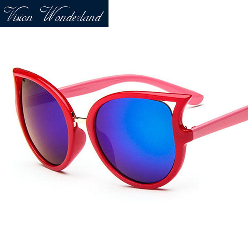 Mutil Color Fashion Cute Children Sunglasses Kids Lovely UV400 Blue Frame Oculos 2016 Girl Sun Shades Cat Eye