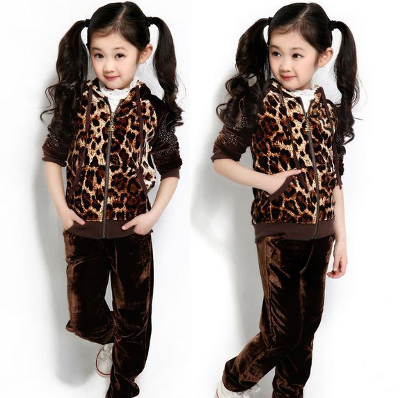 Year 2014 Children's Sports Suit Kids Girl Casual Sets Leopard Girls baby kids clothes set girls hoody pants suit - Just Me store