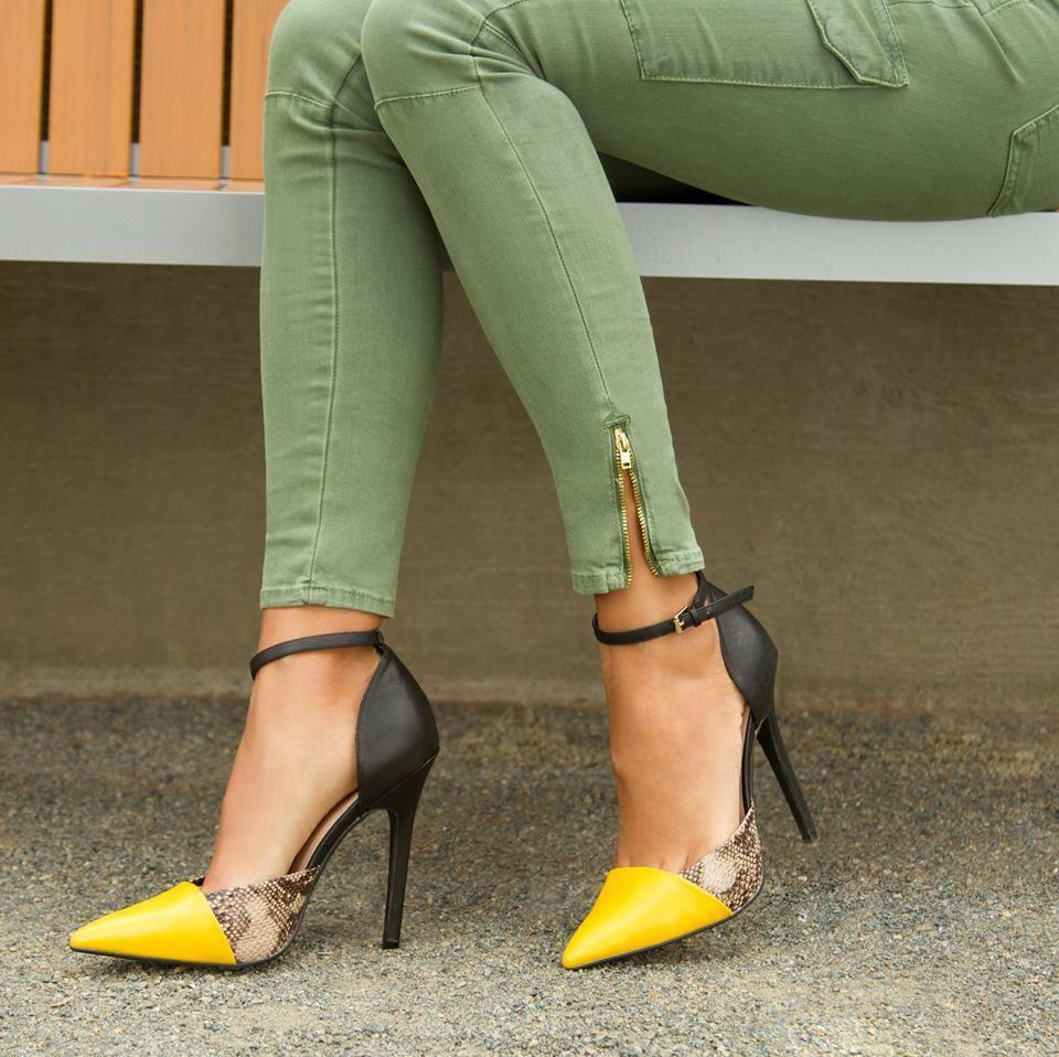 Neon Yellow High Heel Sandals