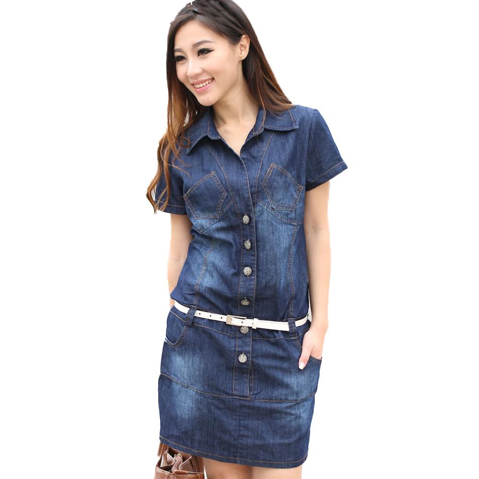 2015 New Women Casual Plus Size 4xl 5xl Blue Jeans denim Dress Short Sleeve Vintage Denims ...