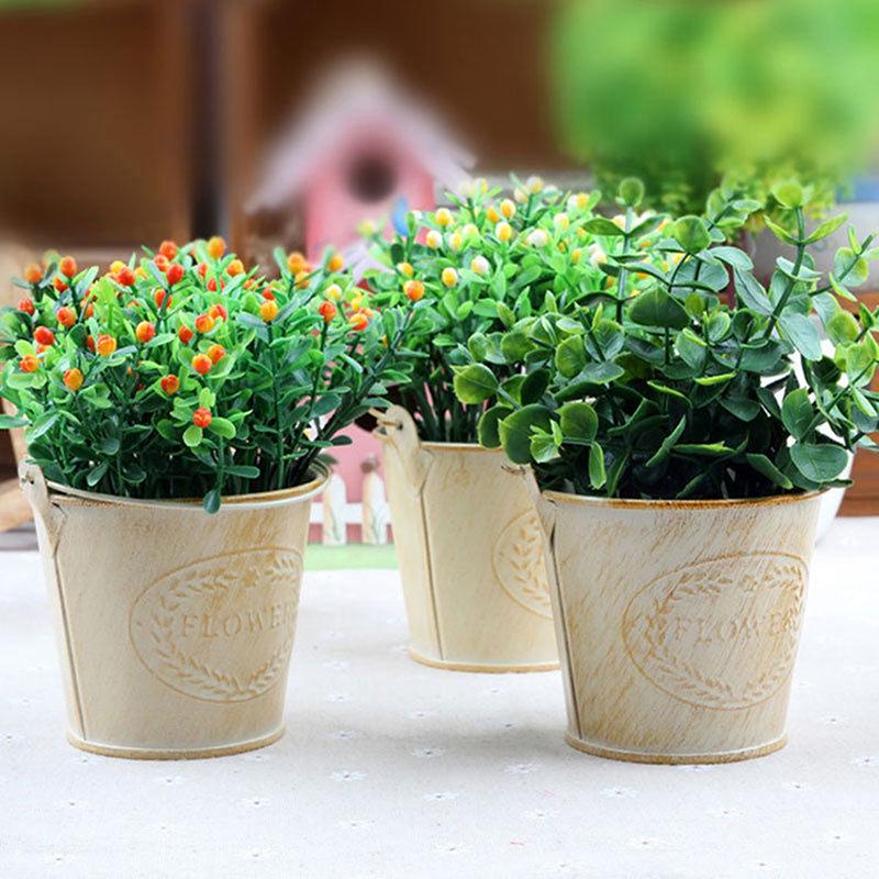 hanging flower pots home garden green plant planter nursery tin pot